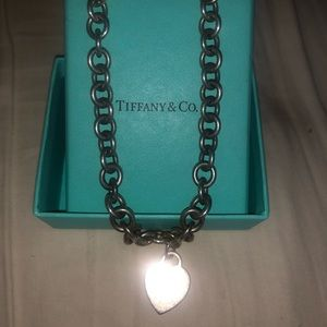 Tiffany & Co silver chain heart choker necklace
